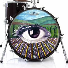 Field of Vision Design Remo-Made Graphic Drum Head on Bass Drum; abstract nature drum art