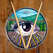 Field of Vision Design Remo-Made Graphic Drum Head on Snare Drum; visionary drum art