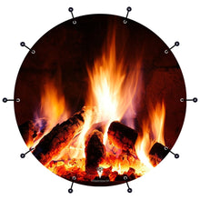 Fireplace design bass face banner style drum head art
