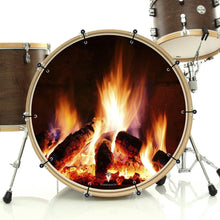 Fireplace design bass face banner style drum head art on bass drum