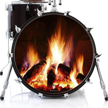 Fireplace design visionary drum decal-style drum skin on bass drum