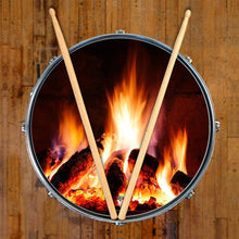 Fireplace design visionary drum decal-style drum skin on snare