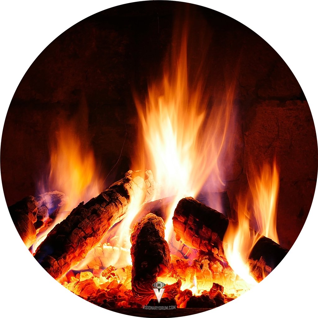 Fireplace design visionary drum decal-style drum skin