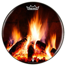 Fireplace design Remo-made drum head by visionary drum