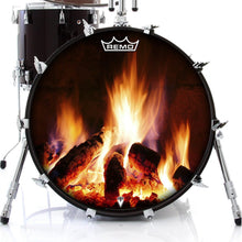 Fireplace design Remo-made drum head by visionary drum on bass drum