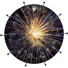 Fireworks bass face drum banner by Visionary Drum; abstract drum art