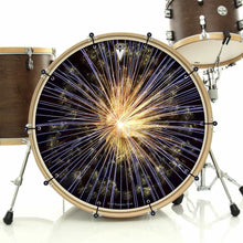 Fireworks bass face drum banner installed on bass drum; visionary drum art