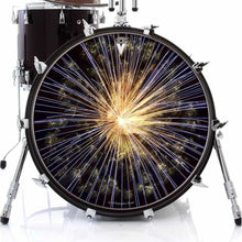 Fireworks design graphic drum skin on bass drum by Visionary Drum; radial pattern drum art