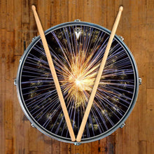 Fireworks design graphic drum skin on snare drum by Visionary Drum; abstract drum art
