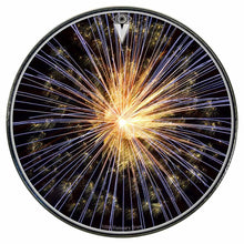 Fireworks graphic drum skin installed on bass drum head by Visionary Drum