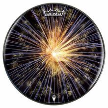 Fireworks Design Remo-Made Graphic Drum Head by Visionary Drum; closeup of fireworks