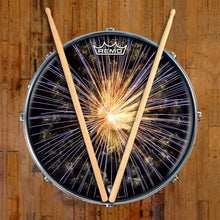 Fireworks Design Remo-Made Graphic Drum Head on Snare Drum; celebration drum art
