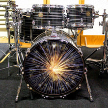 Fireworks graphic drum skin installed on drum kit by Visionary Drum