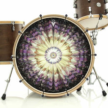 Floral Space bass face drum banner installed on bass drum; visionary drum art