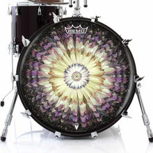 Floral Space Design Remo-Made Graphic Drum Head on Bass Drum; purple drum art