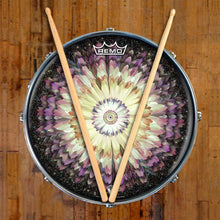 Floral Space Design Remo-Made Graphic Drum Head on Snare Drum; mandala drum art