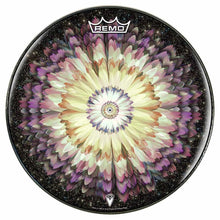 Floral Space Design Remo-Made Graphic Drum Head by Visionary Drum; yellow drum art