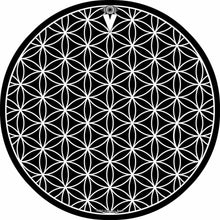 Flower of Life design graphic drum skin by Visionary Drum; black and white drum art