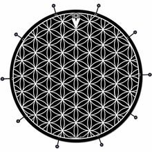 Flower of Life bass face drum banner by Visionary Drum; black drum art