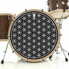Flower of Life bass face drum banner installed on bass drum by Visionary Drum; geometric pattern drum art