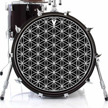 Flower of Life design graphic drum skin on bass drum by Visionary Drum; sacred geometry drum art