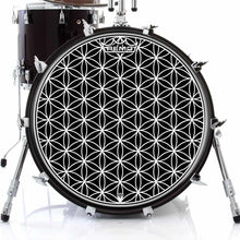 Flower of Life Design Remo-Made Graphic Drum Head on Bass Drum; geometric pattern drum art
