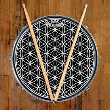 Flower of Life Design Remo-Made Graphic Drum Head on Snare Drum; visionary drum art