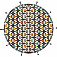Flower of Life Rainbow bass face drum banner by Visionary Drum; geometric pattern drum art