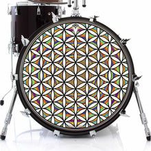 Flower of Life Rainbow graphic drum skin on bass drum by Visionary Drum; sacred geometry drum art