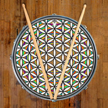 Flower of Life Rainbow graphic drum skin on bass drum on snare drum by Visionary Drum; spiritual drum art