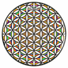 Flower of Life Rainbow Design Remo-Made Graphic Drum Head by Visionary Drum; geometric drum art
