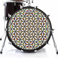 Flower of Life Design Remo-Made Graphic Drum Head on Bass Drum; visionary drum art