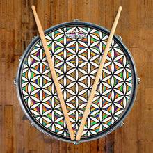 Flower of Life Design Remo-Made Graphic Drum Head on Snare Drum; psychedelic drum art