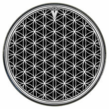 Flower of Life graphic drum skin installed on bass drum head by Visionary Drum; black pattern drum art