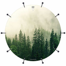 Fog in the Forest bass face drum banner by Visionary Drum; nature drum art