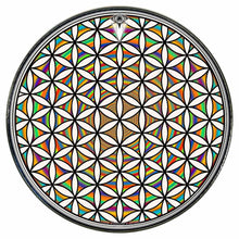 Flower of Life Rainbow graphic drum skin installed on bass drum head; sacred geometry drum art