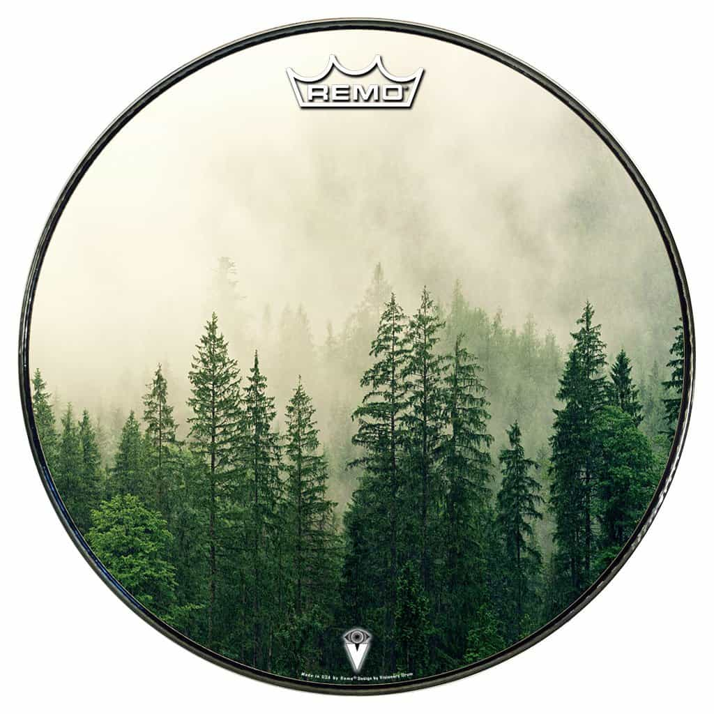 forest graphic drum head with trees and fog remo made bass head.