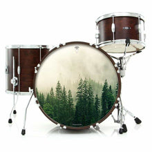 Fog in the Forest graphic drum skin installed on bass drum head shown on drum kit; trees drum art