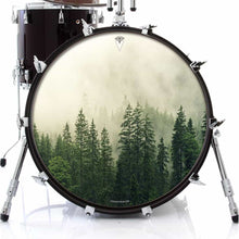 Fog in the Forest design graphic drum skin on bass drum by Visionary Drum; nature lover drum art