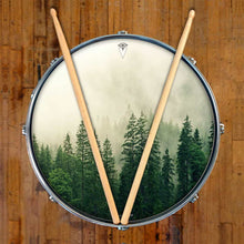 Fog in the Forest design graphic drum skin on snare drum by Visionary Drum; tree drum art
