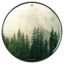 Fog in the Forest graphic drum skin installed on bass drum head by Visionary Drum; foggy drum art