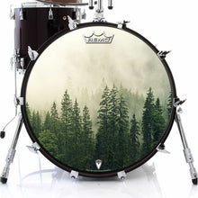 Fog in the Forest Design Remo-Made Graphic Drum Head on Bass Drum; green drum art