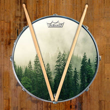 forest graphic drum head with trees on snare drum