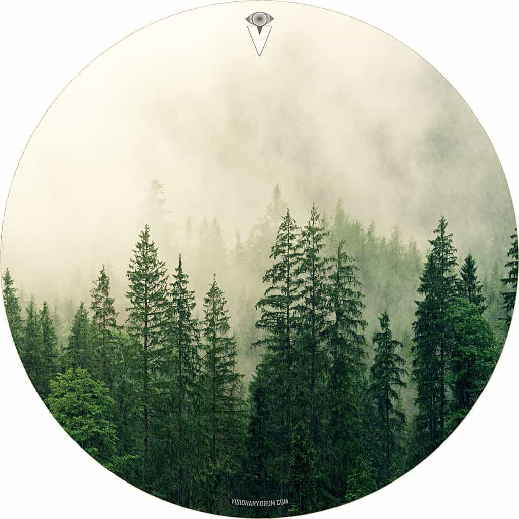 Fog in the Forest design graphic drum skin by Visionary Drum; vintage drum art