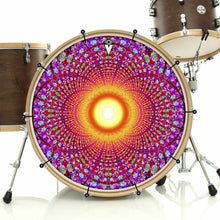 Fractal Flash bass face drum banner installed on drum kit; sacred geometry drum art