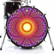 Fractal Flash graphic drum skin on bass drum by Visionary Drum; mandala drum art