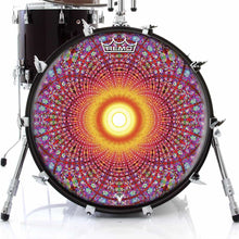 Fractal Flash Design Remo-Made Graphic Drum Head on Bass Drum; visionary drum art
