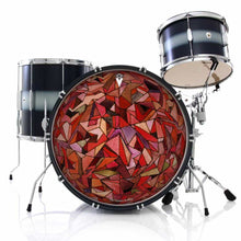 Fractured Orb graphic drum skin installed on bass drum head shown on drum kit; abstract geometric drum art