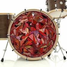 Fractured Orb bass face drum banner installed on bass drum; visionary drum art