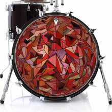 Fractured Orb design graphic drum skin on bass drum by Visionary Drum; red drum art